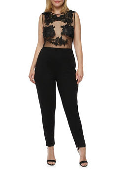 Plus Size Lace Mesh Jumpsuit - BLACK - 3930069396684