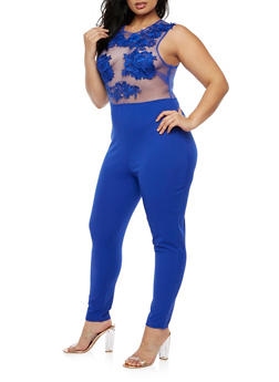 Plus Size Lace Mesh Jumpsuit - ROYAL - 3930069396684