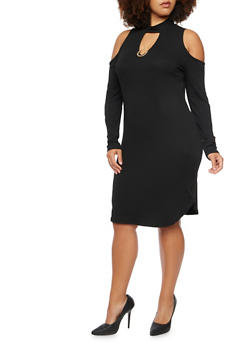 Plus Size Ribbed Cold Shoulder Dress with Necklace - BLACK - 3930072240335