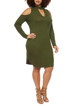 Plus Size Ribbed Cold Shoulder Dress with Necklace - OLIVE - 3930072240335