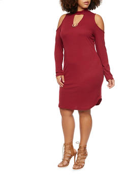 Plus Size Ribbed Cold Shoulder Dress with Necklace - WINE - 3930072240335