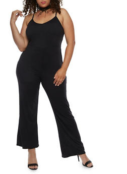 Plus Size Spaghetti Strap Flared Leg Jumpsuit - 3930072241428