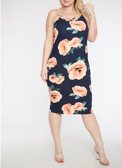 Plus Size Floral Caged Front Bodycon Dress - 3930072241656