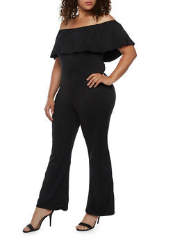 Plus Size Off the Shoulder Jumpsuit with Ruffle Overlay - 3930072241675