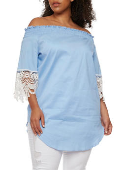 Plus Size Smocked Off the Shoulder Dress with Crochet Trim - 3930072241707