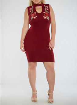 Plus Size Floral Applique Bodycon Dress - 3930072241721