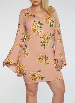 Plus Size Bell Sleeve Floral Print Dress - 3930072241903