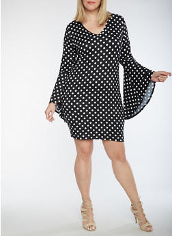 Plus Size Polka Dot Dress with Bell Sleeves - 3930072241930