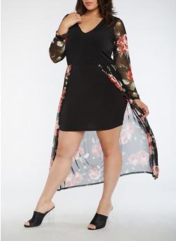 Plus Size Floral Maxi Romper Dress - 3930072241979