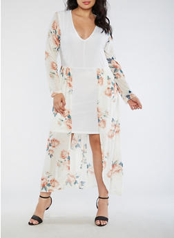 Plus Size Floral Maxi Romper Dress - 3930072241979