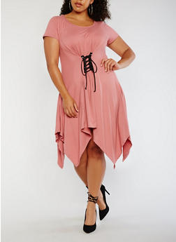 Plus Size Sharkbite Dress with Lace Up Waist - 3930072243001