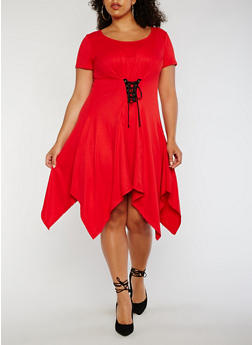 Plus Size Sharkbite Dress with Lace Up Waist - RED - 3930072243001