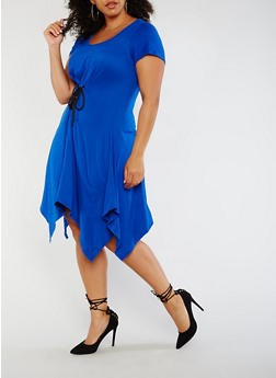 Plus Size Sharkbite Dress with Lace Up Waist - ROYAL - 3930072243001