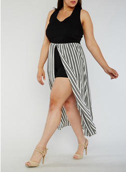 Plus Size Crepe Knit Romper with Striped Maxi Skirt Overlay - 3930072243002