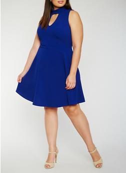 Plus Size Keyhole Skater Dress - 3930072245011