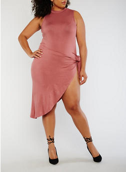Plus Size Sleeveless Bodysuit Wrap Dress - 3930072246347