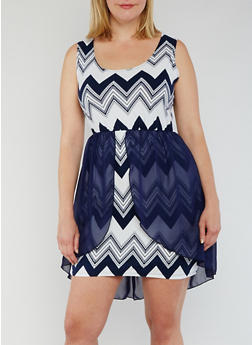 Plus Size Printed Dress with Skirt Overlay - 2 NAVY - 3930072246876