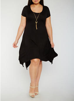 Plus Size Sharkbite T Shirt Dress with Necklace - BLACK - 3930072249828