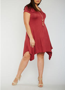 Plus Size Sharkbite T Shirt Dress with Necklace - 3930072249828