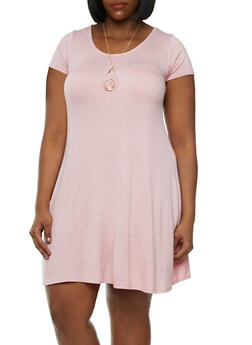 Plus Size Trapeze Dress with Teardrop Necklace - 3930072249908