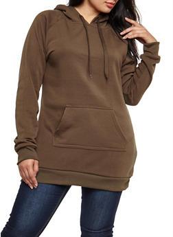 Plus Size Solid Hooded Sweatshirt - OLIVE - 3930072290021