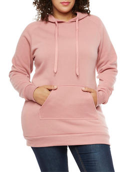 Plus Size Solid Hooded Sweatshirt - 3930072290021