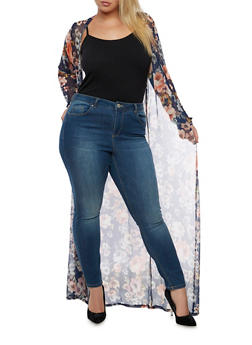 Plus Size Printed Mesh Duster - 3932020622156