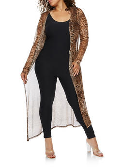 Plus Size Printed Mesh Duster - TAUPE - 3932020622156