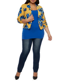 Plus Size Floral Blazer with Open Front - 3932020625646