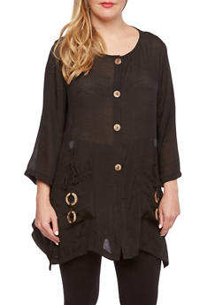 Plus Size Gauzy Top with Wooden Embellishments - 3932030842336