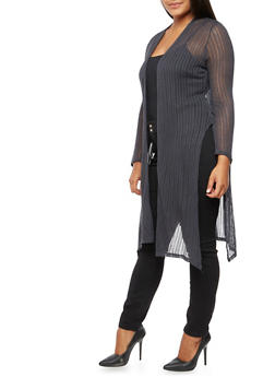 Plus Size Long Side Slit Cardigan - 3932054212561