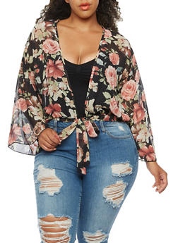 Plus Size Floral Kimono with Bell Sleeves - 3932054263507