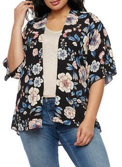 Plus Size Floral Kimono - 3932061351253