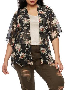 Plus Size Floral Kimono - 3932061353701