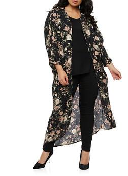 Plus Size Long Floral Kimono - 3932061354261