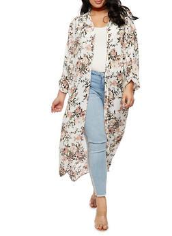 Plus Size Long Floral Kimono - IVORY - 3932061354261