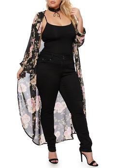 Plus Size Long Floral Kimono - BLACK - 3932061354262