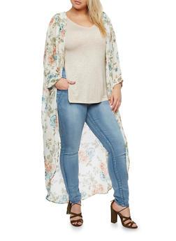 Plus Size Long Floral Kimono - IVORY - 3932061354262