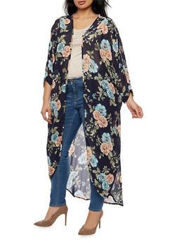 Plus Size Long Floral Kimono - 3932061354262