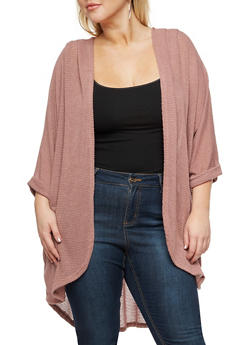 Plus Size Solid Lightweight Knit Cardigan - 3932061355280