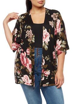 Plus Size Soft Knit Floral Cardigan - 3932061355353