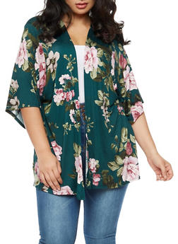 Plus Size Soft Knit Floral Cardigan - 3932061355353