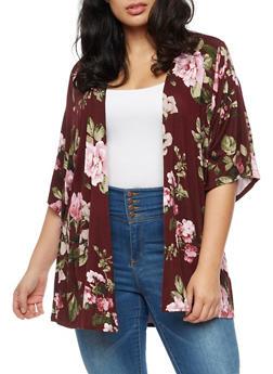 Plus Size Soft Knit Floral Cardigan - BURGUNDY - 3932061355353