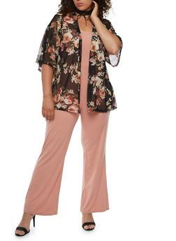 Plus Size Floral Mesh Open Front Kimono - 3932061358238