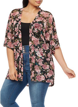 Plus Size Mesh Rose Print Cardigan - 3932061358330