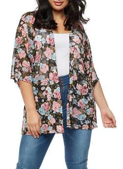 Plus Size Mesh Rose Print Cardigan - BLUE BK - 3932061358330