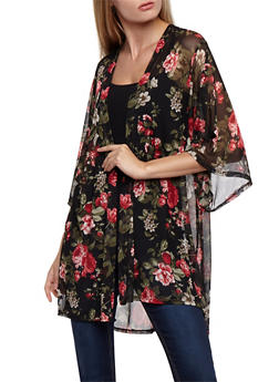 Plus Size Floral Mesh Cardigan - RED BLK - 3932061358331