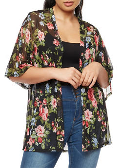 Plus Size Floral Mesh Cardigan - 3932061358331