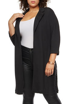 Plus Size Crepe Knit Slit Side Blazer - 3932062703105