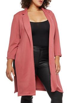 Plus Size Crepe Knit Slit Side Blazer - 3932062703105
